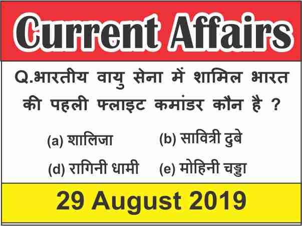 Current Affairs Quiz in Hindi : 29 august 2019