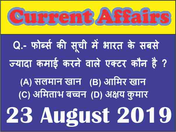 Current Affairs Quiz in Hindi : 23 August 2019