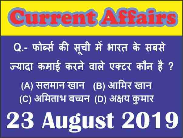 Current Affairs Quiz in Hindi : 23 August 2019