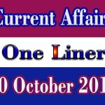 Current Affairs One Liner : 20 October 2019