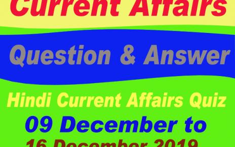 Hindi Current Affairs Quiz : 09 December to 16 December 2019