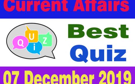 Hindi Current Affairs Quiz : 07 December 2019
