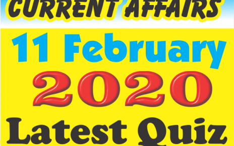 Current Affairs Quiz in Hindi 11 February 2020