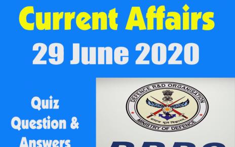 Current Affairs Quiz in Hindi 29 June 2020